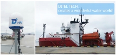 DITEL V61 maritime satellite VSAT Antenna installed on oil platform auxiliary ship